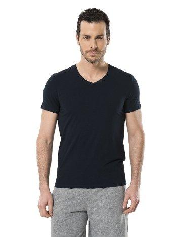 Cacharel Erkek Likralı V Yaka T-shirt 1332/LACİVERT