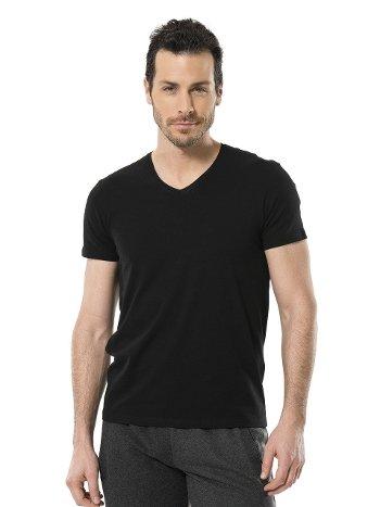 Cacharel Erkek Likralı V Yaka T-shirt 1332/SİYAH