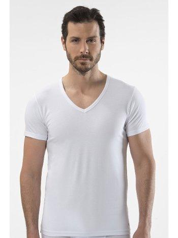 Cacharel - V yaka kısa kollu t-shirt 1306/BEYAZ