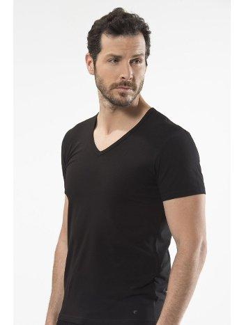 Cacharel - V yaka kısa kollu t-shirt 1306/SİYAH