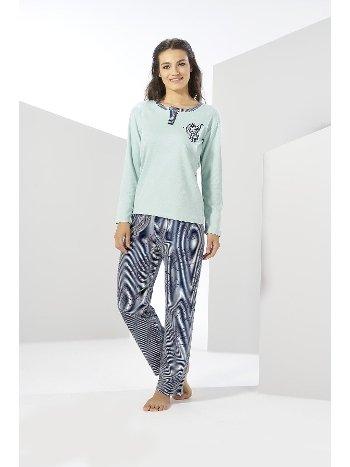 Çağla Yeşili Uzun Kol Kışlık Penye Pijama Takımı Estiva 20302