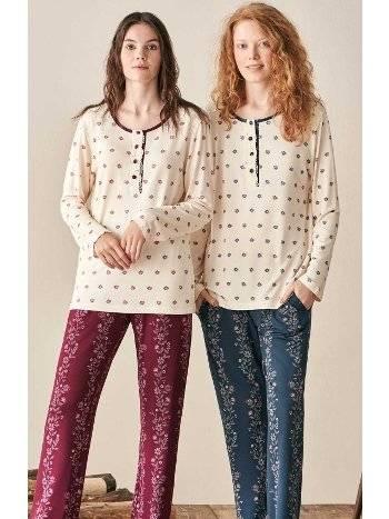Çiçek Desen Pijama Takımı Feyza 3924