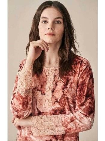 Çiçek Desenli Kadife Pijama Takımı Feyza 3937