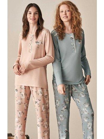 Çiçek Desenli Pijama Takımı Feyza 3916