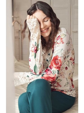 Çiçek Desenli Pijama Takımı Feyza 3931