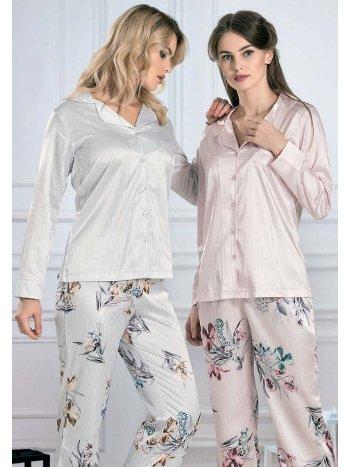 Çiçek Desenli Saten Uzun Kollu Pijama Takım FLZ 89-464