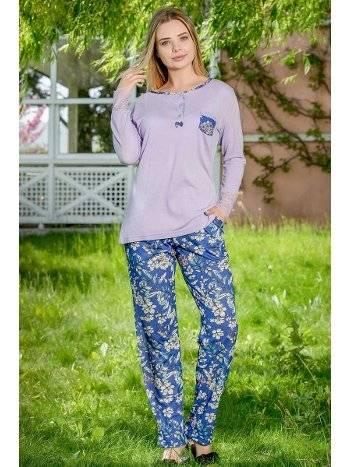 Çiçekli 2'li Viskon Kadın Pijama Takımı Yeni İnci BPJ1650