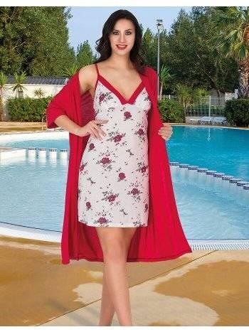 Çiçekli Gecelik ve Kırmızı Sabahlık Takım Lady 556
