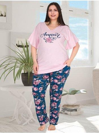 Çiçekli Kısa Kollu Büyük Beden Kadın Pijama Takımı Lady 10779