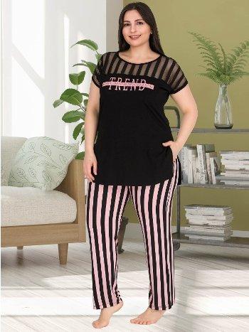 Çizgili Büyük Beden Pijama Takımı Lady 10772