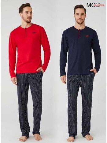Çizgili %100 Pamuk Erkek Pijama Takım Mod Collection 3335