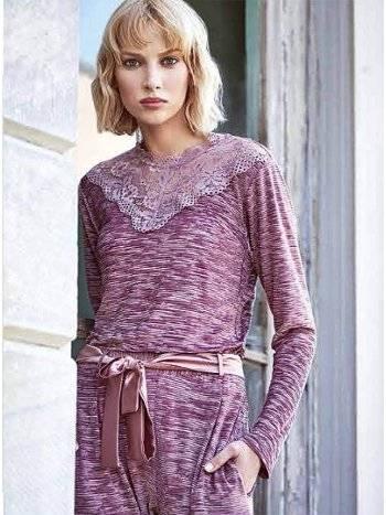 Dantel Detaylı Kışlık Bayan Pijama Takımı Miss Loren 2017