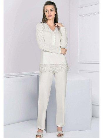 Dantel Detaylı Uzun Kollu Kışlık Pijama Takım FLZ 89-475