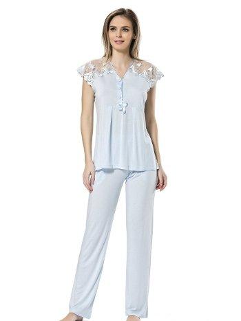 Dantelli Kısa Kol Pijama Türen 3192/MAVİ