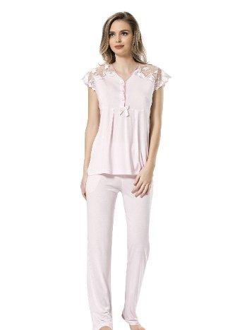 Dantelli Kısa Kol Pijama Türen 3192/PEMBE