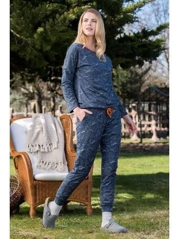 Desenli 2'li Viskon Kadın Pijama Takımı Yeni İnci BPJ1612
