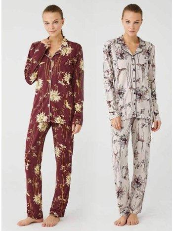 Desenli Gömlek Pijama Takım Mod Collection 3395