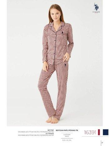 Düğmeli Pijama Takımı Bayan Us Polo Assn 16391