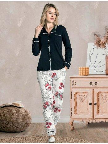 Düğmeli Uzun Kollu Kışlık Pijama Takımı Dowry 09-856