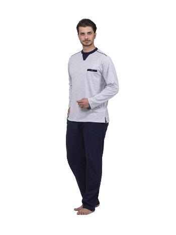 Düz O yaka Pijama Takım Çift Kaplan 8737