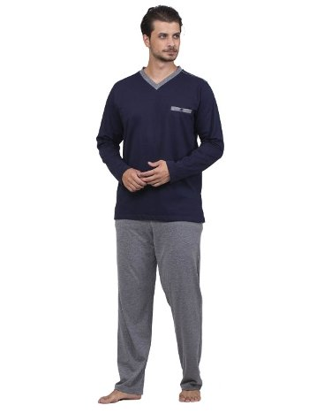 Düz V Yaka Pijama Takım Çift Kaplan 8736