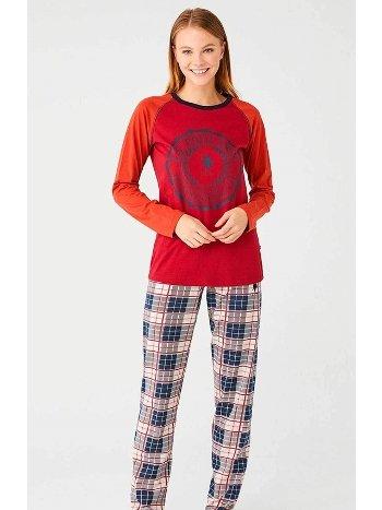 Ekoseli Uzun Kol Kışlık Bayan Pijama Takımı US Polo 16370