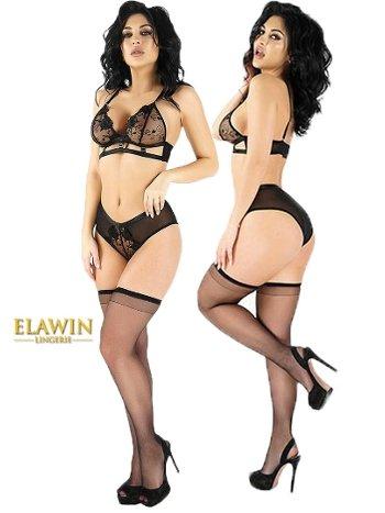 Elawin Güpürlü Fantazi Çoraplı Sütyen Külot Takım 5310