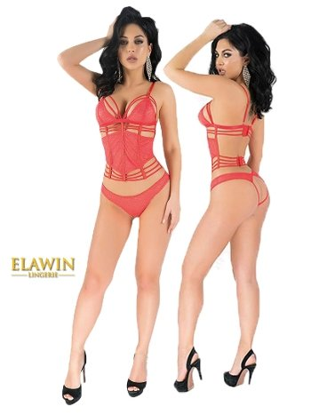 Elawin Kırmızı Simli Dantel Büstiyer Takım 5325