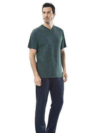 Emprime Baskılı V Yaka Kısa Kol Pijama Cacharel 2147/YEŞİL