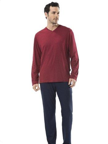 Emprime Baskılı V Yaka Uzun Kol Pijama Cacharel 2153/BORDO