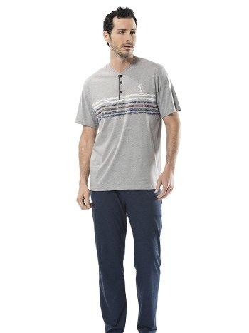 Erkek Baskılı Kısa Kollu Pijama Takımı Türen 4112/GRİ