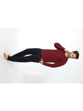 Erkek Bisiklet Yaka Uzun Kollu Pijama Takım 12052-A Öztaş