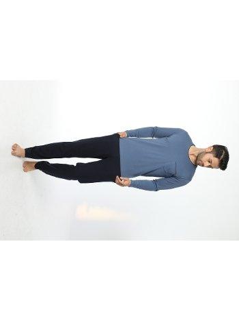 Erkek Bisiklet Yaka Uzun Kollu Pijama Takım 12053-A Öztaş