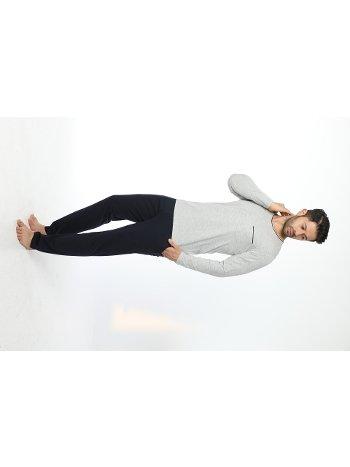 Erkek Bisiklet Yaka Uzun Kollu Pijama Takım 12054-A Öztaş