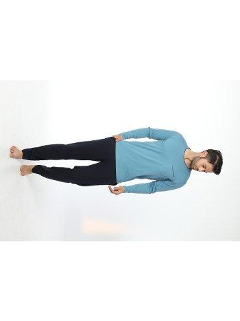 Erkek Bisiklet Yaka Uzun Kollu Pijama Takım 12055-A Öztaş