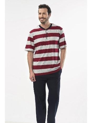 Çizgili Kısa Kol Patlı Pijama Takım Cacharel 2127/BORDO