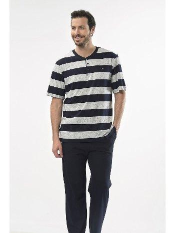 Çizgili Kısa Kol Patlı Pijama Takım Cacharel 2127/LACİVERT