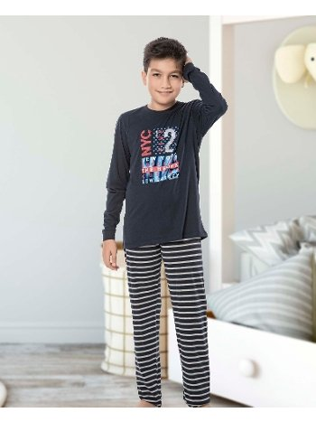 Erkek Çocuk Uzun Kollu Penye Pijama Takım 32017-A Öztaş