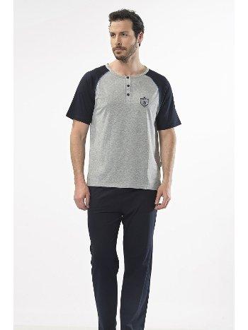 Düz Reglan Patlı Kısa Kol Pijama Cacharel 2115/GRİ