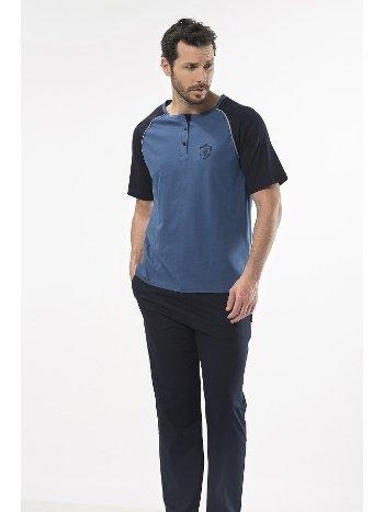 Düz Reglan Patlı Kısa Kol Pijama Cacharel 2115/İNDİGO