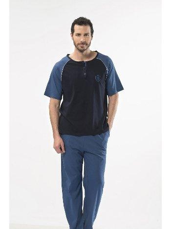 Düz Reglan Patlı Kısa Kol Pijama Cacharel 2115/LACİVERT