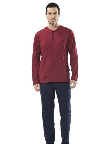 Emprime Baskılı Patlı Uzun Kol Pijama Cacharel 2152/BORDO