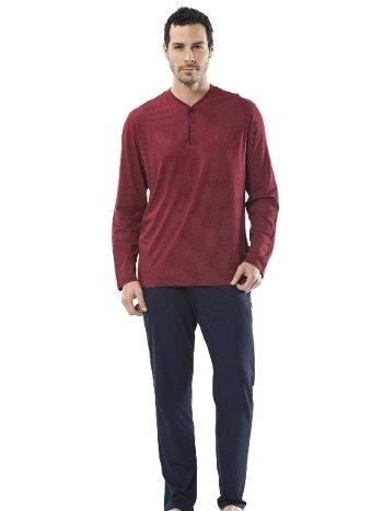 Emprime Baskılı Patlı Uzun Kollu Pijama Cacharel 2148/BORDO
