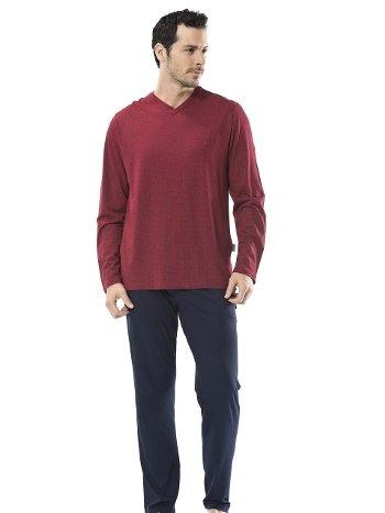 Emprime Baskılı V Yaka Uzun Kol Pijama Cacharel 2149/BORDO