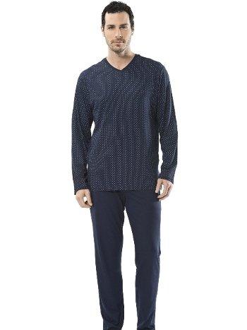 Emprime Baskılı V Yaka Uzun Kol Pijama Cacharel 2153/LACİVERT