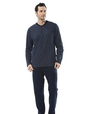 Erkek Emprime Patlı Uzun Kollu Pijama Takım Türen 4105/LACİVERT