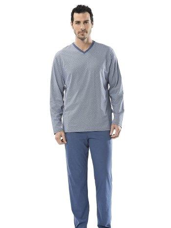 Emprime V Yaka Uzun Kollu Pijama Takım Türen 4103/İNDİGO