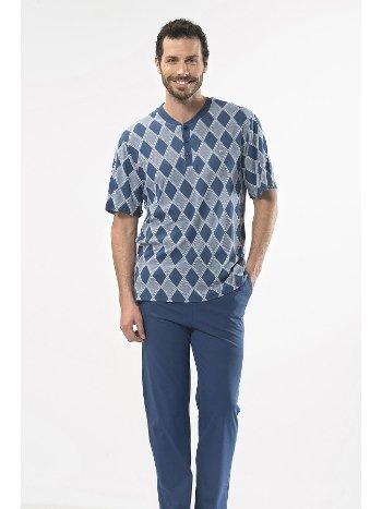 Jakarlı Baklavalı Patlı Kısa Kol Pijama Cacharel 2112/İNDİGO