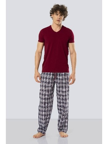 Kısa Kollu Poplin Pijama Takım Cacharel 2186/BORDO