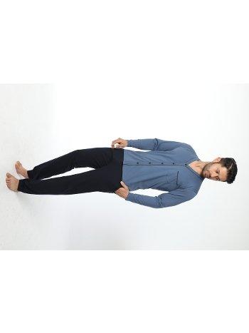 Erkek önü Düğmeli Uzun Kollu Pijama Takım 12033-A Öztaş